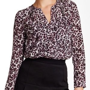 Rebecca Taylor Lynx Print Long Sleeve Silk Blouse